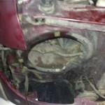 Вид рамы Pajero Jr. после снятия правой фары (по ходу движения).
