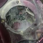 Вид рамы после снятия левой (по ходу движения) фары Pajero Jr.