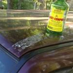 После снятия малярного скотча крышу пришлось отмывать от его остатков уайт-спиритом.