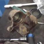 Вид очищенного тормозного цилиндра Pajero Jr. перед установкой нового сальника суппорта
