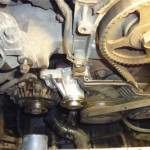 Новая помпа GMB после установки на двигатель Pajero Jr.
